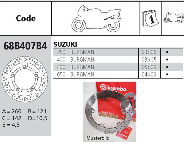 Brembo Brake Disc Performance Serie Oro 68B407B4, front