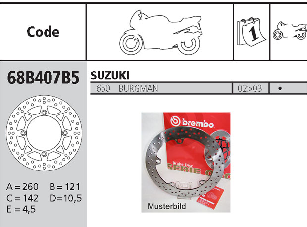 Brembo Brake Disc Performance Serie Oro 68B407B5, front