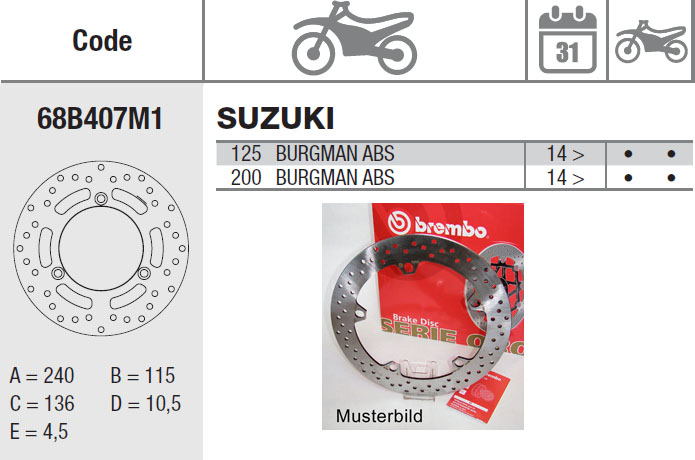 Brembo Bremsscheibe Performance Serie Oro 68B407M1