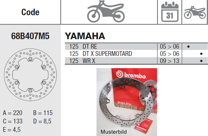 Brembo Bremsscheibe Performance Serie Oro 68B407M5