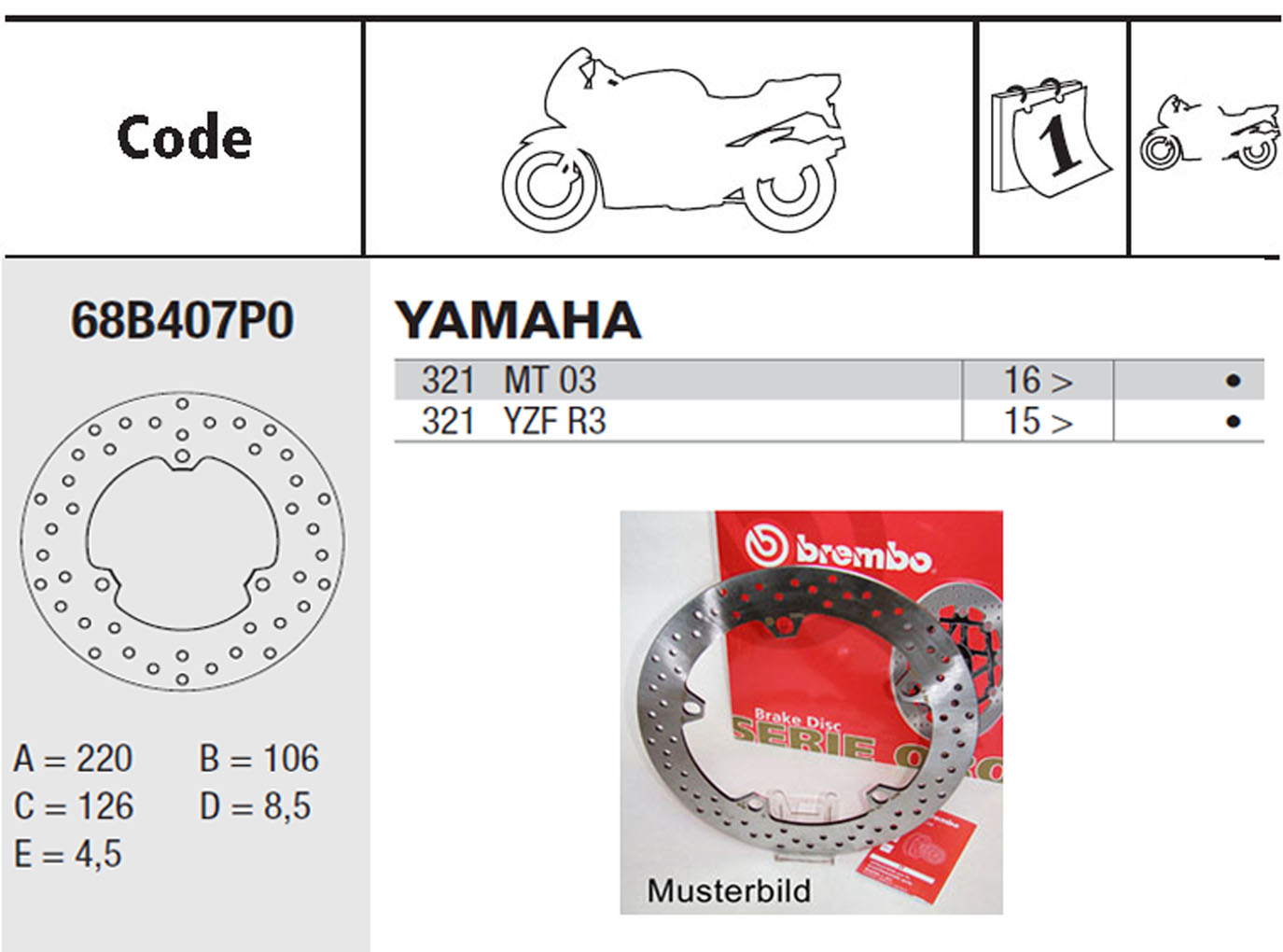 Brembo Brake Disc Performance Serie Oro 68B407P0, rear