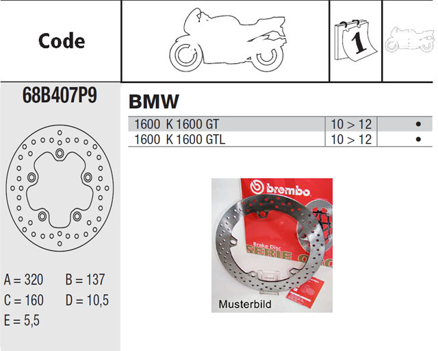 Brembo Brake Disc Performance Serie Oro 68B407P9, rear