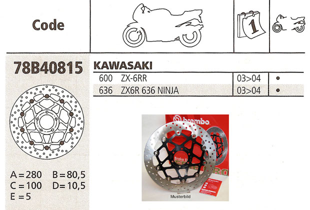 Brembo Brake Disc Performance Serie Oro 78B40815, front