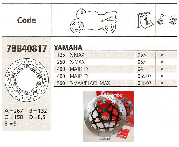 Brembo Brake Disc Performance  Serie Oro 78B40817, front