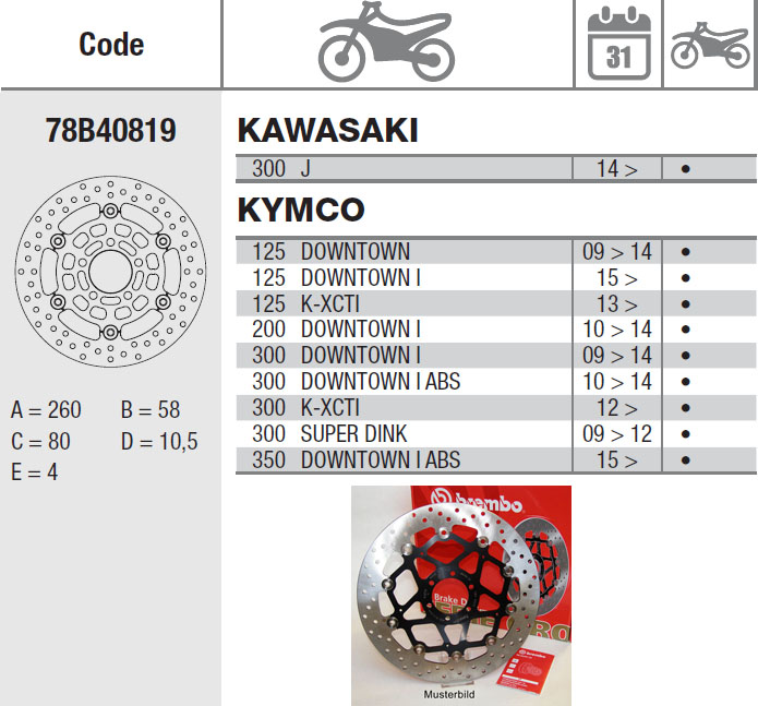 Brembo Brake Disc Performance Serie Oro 78B40819, front