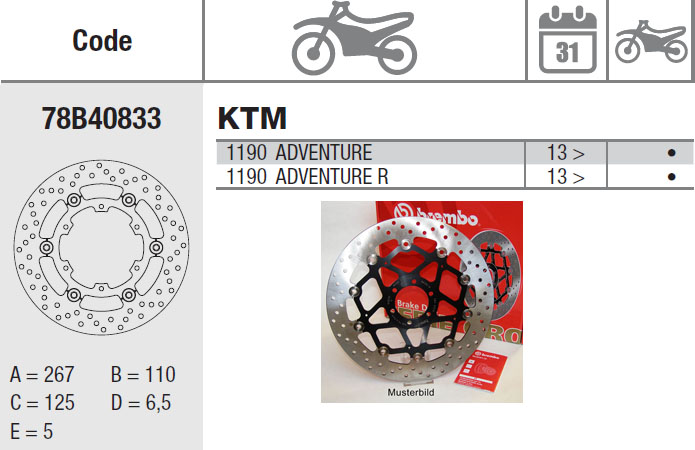 Brembo Brake Disc Performance Serie Oro 78B40833, rear