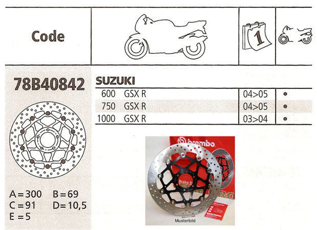 Brembo Brake Disc Performance Serie Oro 78B40842, front
