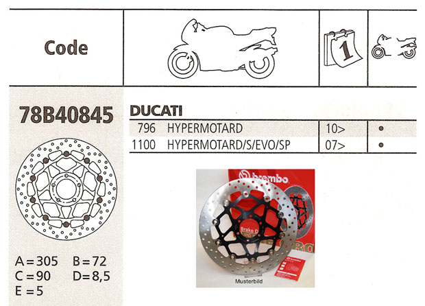 Brembo Brake Disc Performance Serie Oro 78B40845, front