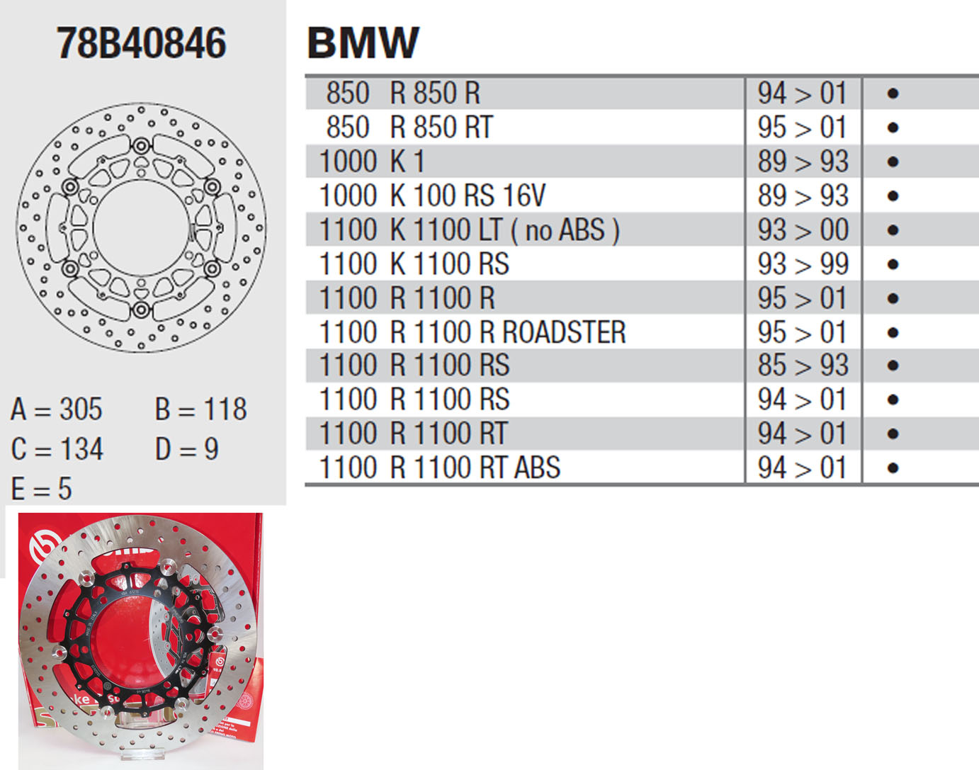 Brembo Brake Disc Performance Serie Oro 78B40846, front