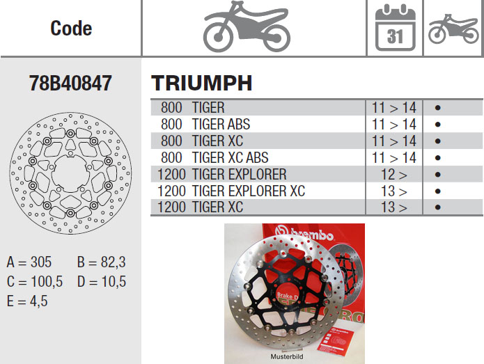 Brembo Brake Disc Performance Serie Oro 78B40847, front