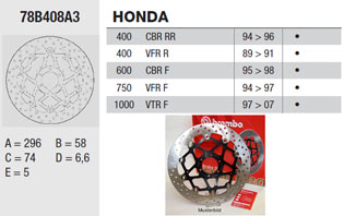 Brembo Brake Disc Performance Serie Oro 78B408A3, front