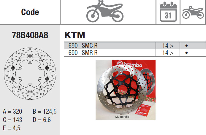 Brembo Brake Disc Performance Serie Oro 78B408A8, front