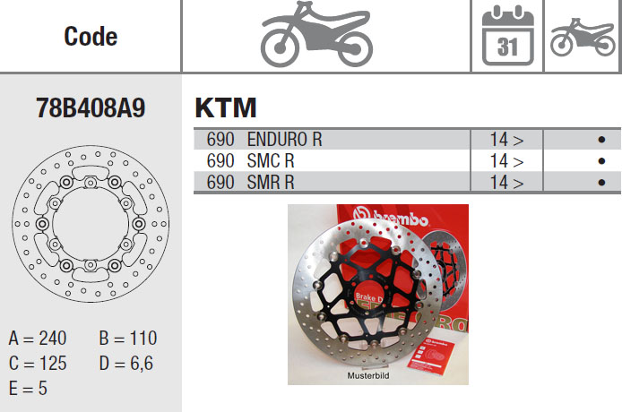 Brembo Brake Disc Performance Serie Oro 78B408A9, rear