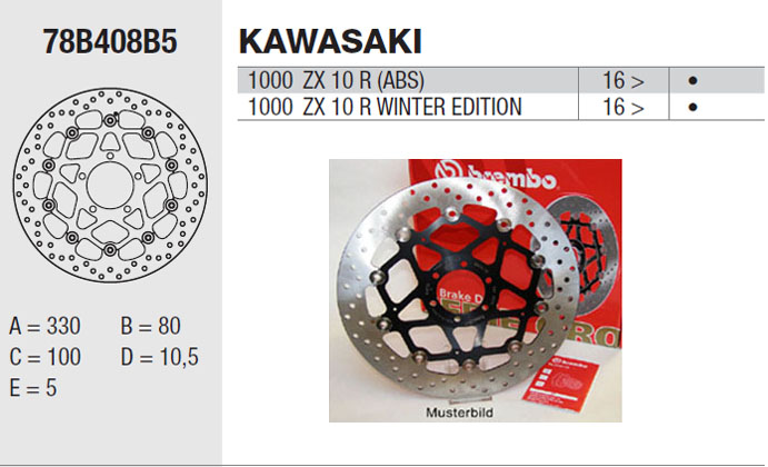 Brembo Brake Disc Performance Serie Oro 78B408B5, front