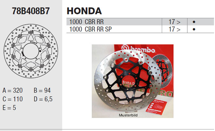 Brembo Brake Disc Performance Serie Oro 78B408B7, front