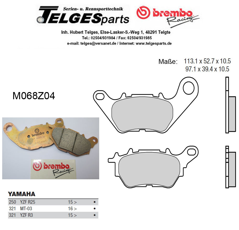 Brembo Pure Racing-Brake Pads Z04, M068Z04