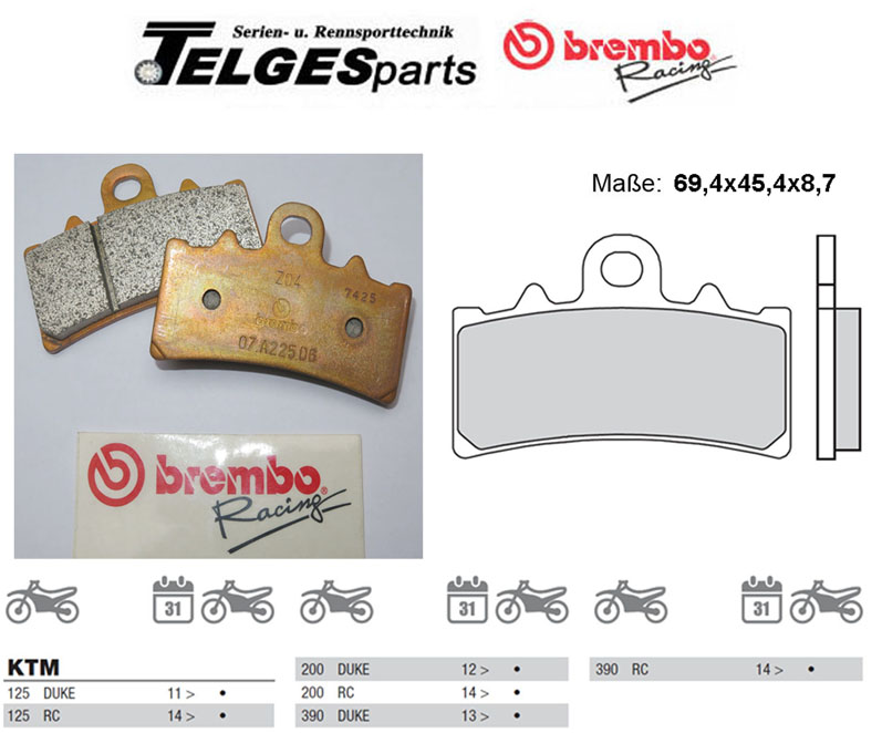Brembo Pure Racing-Brake Pads Z04, M079Z04