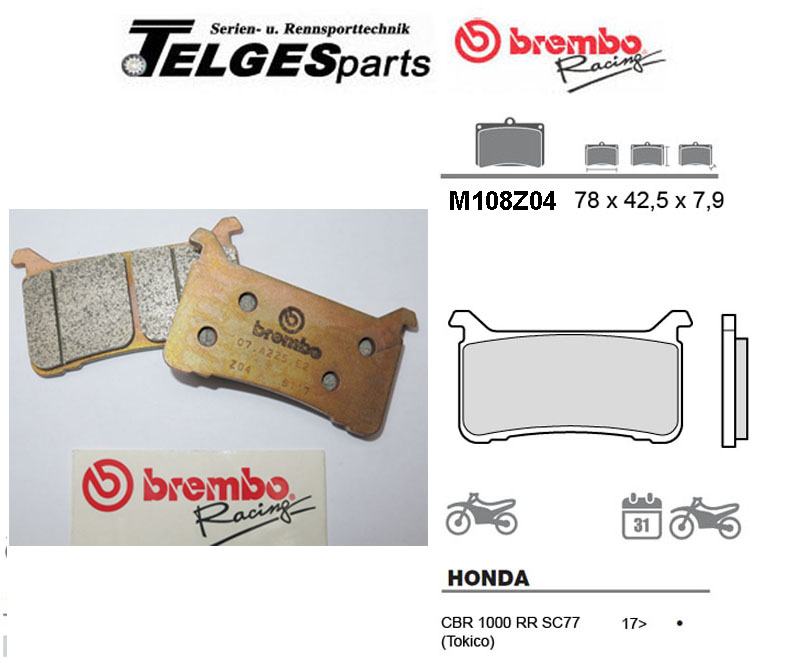 Brembo Pure Racing-Brake Pads Z04, M108Z04