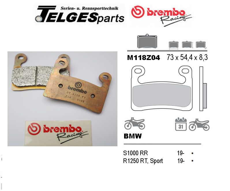 Brembo Pure Racing-Brake Pads Z04, M118Z04
