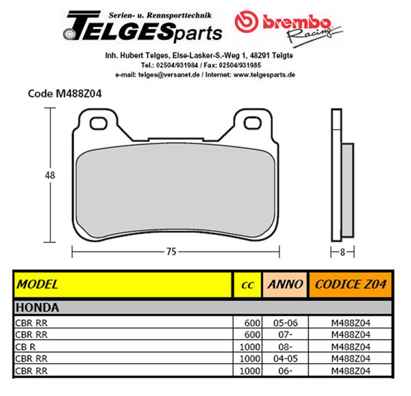 Brembo Pure Racing-Brake Pads Z04, M488Z04