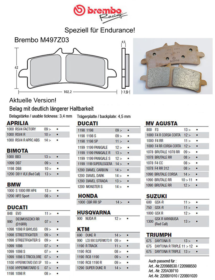 Brembo Pure Racing-Brake Pads Z03, M497Z03