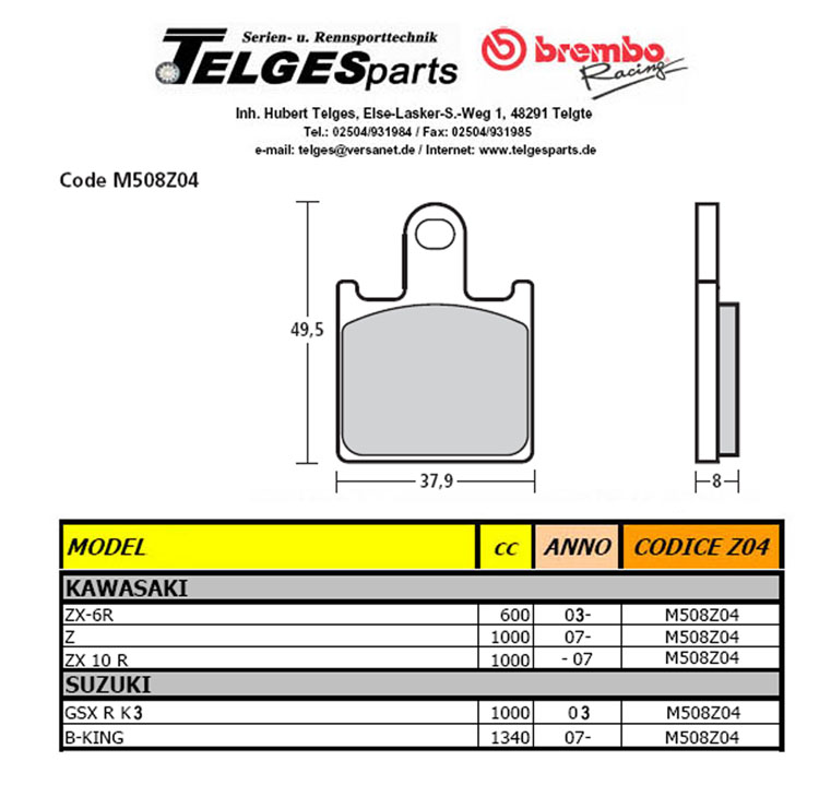Brembo Pure Racing-Brake Pads Z04, M508Z04