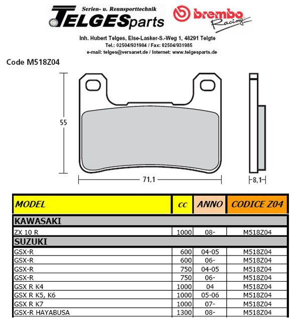 Brembo Pure Racing-Brake Pads Z04, M518Z04