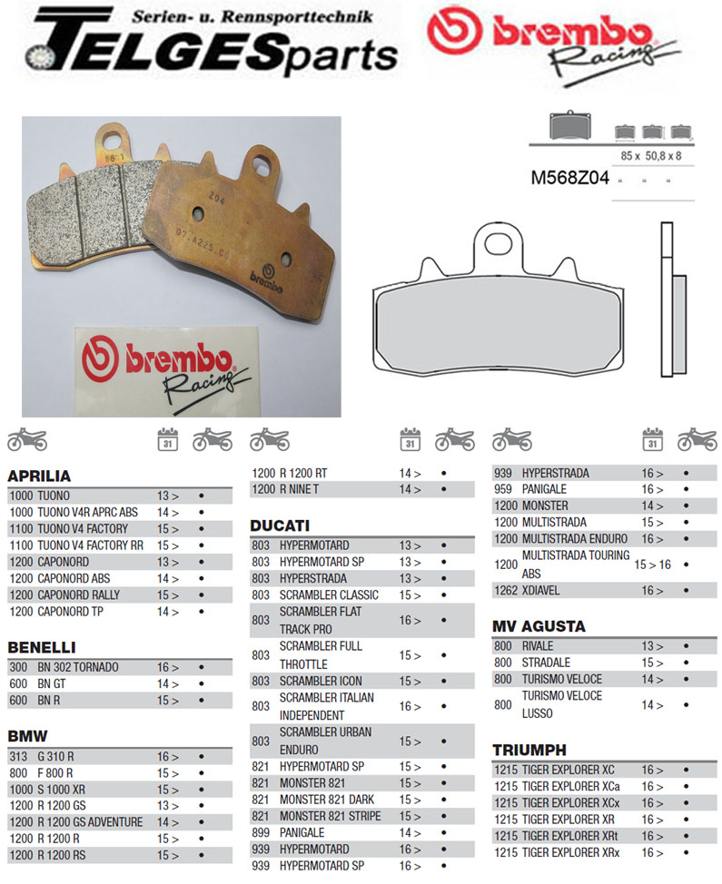 Brembo Pure Racing-Brake Pads Z04, M568Z04