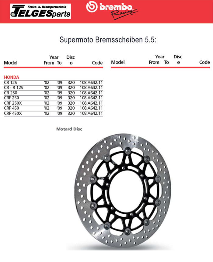 Brembo High-Performance Brake Disc 108A64211 Super Moto
