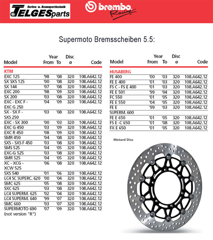 Brembo High-Performance Brake Disc 108A64212 Super Moto