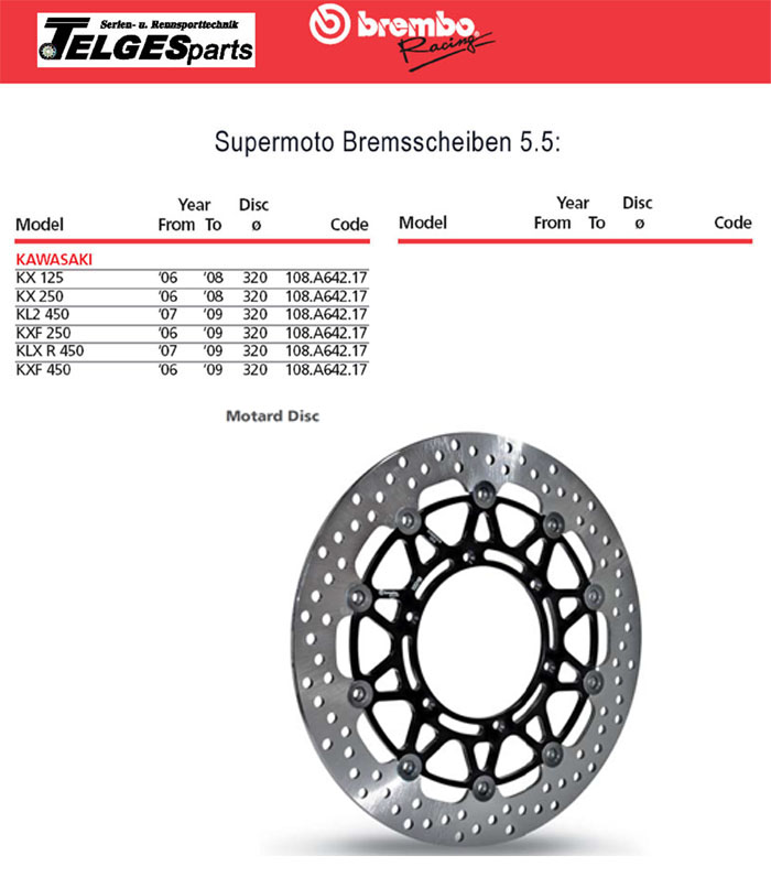 Brembo High-Performance Bremsscheibe 108A64217 Super Moto