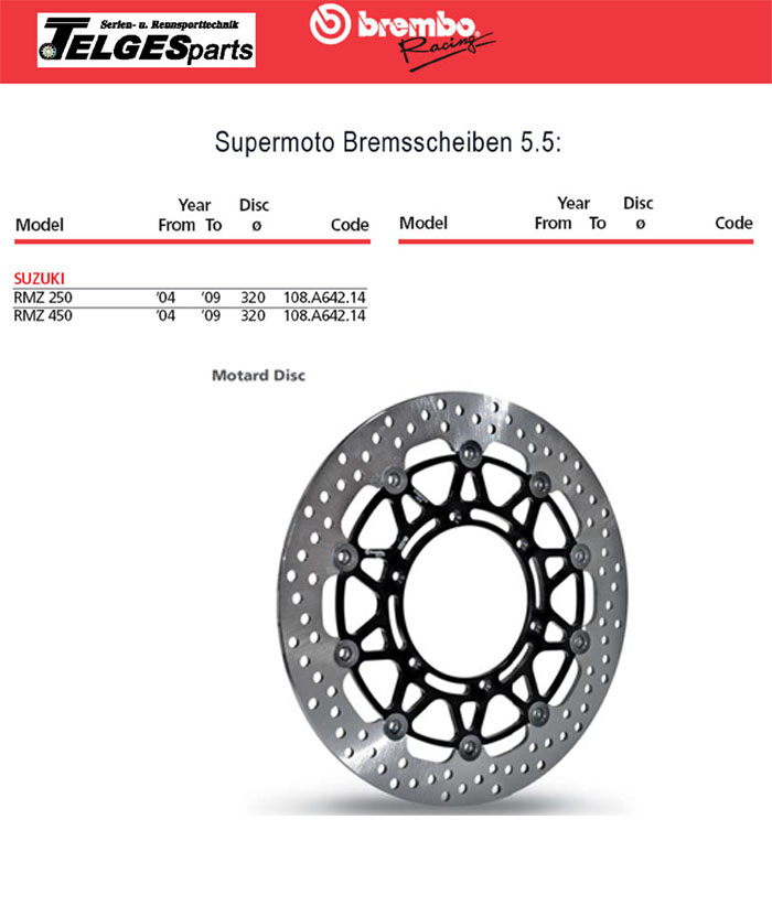 Brembo High-Performance Bremsscheibe 108A64214 Super Moto
