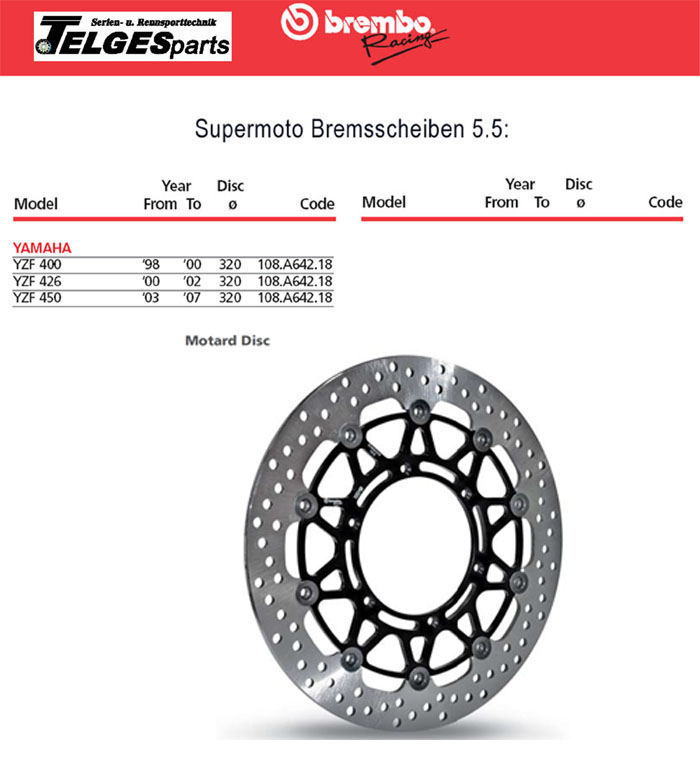 Brembo High-Performance Bremsscheibe 108A64218 Super Moto